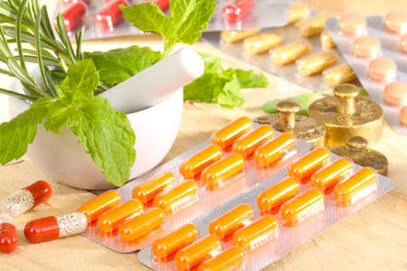 alternative medicine: Conventional medicine and alternative medicine Stock Photo