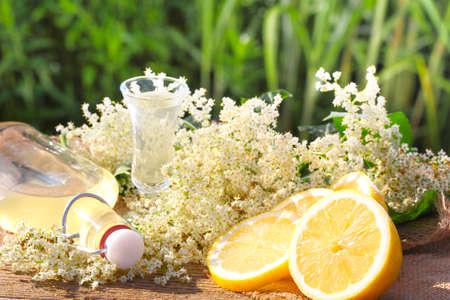 Elderflower liqueur, tasting Standard-Bild