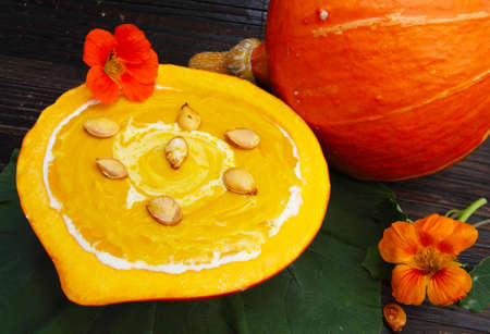 Cream of pumpkin soup with toasted pumpkin seeds Stock Photo - 21697068