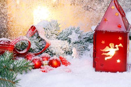 Lantern and christmas decorations Stock Photo - 21697164