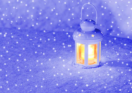 Lantern in the Snow photo