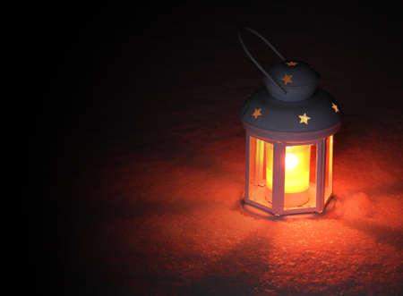 Lantern light on winter evening