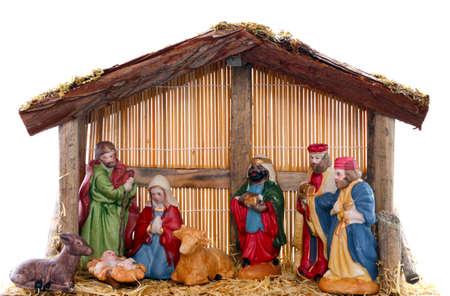 白い背景の前にキリスト降誕のシーン