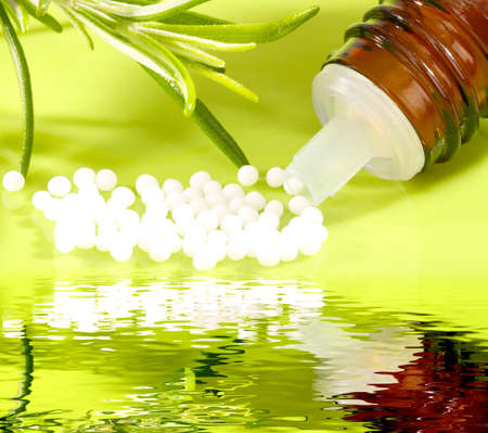Natural medicine, globules with reflection