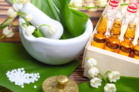 natural healing: Naturopathy, ampules  Stock Photo