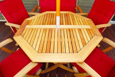 oiled: Wood patio furniture Stock Photo
