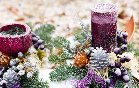 christmas candle: Advent flower arrangement