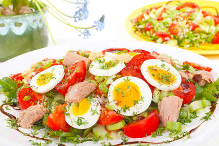 Salad with tuna and egg photo
