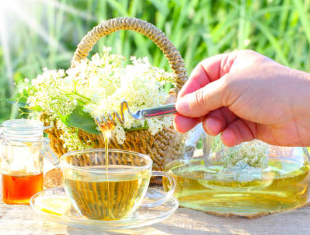 Sweet elderflower tea with honey