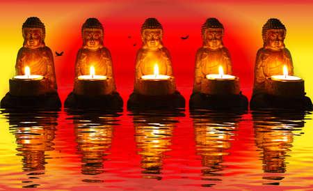 quintet: Buddha, meditation Stock Photo
