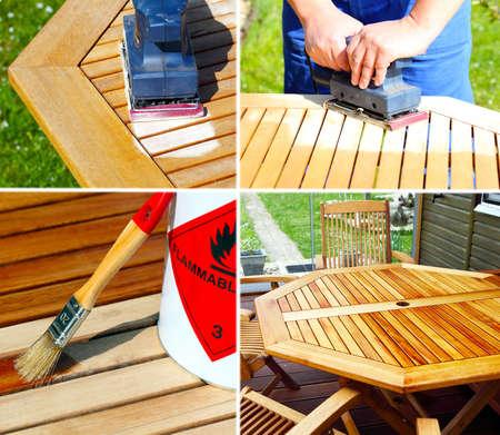 Triturar y mantener los muebles de madera Foto de archivo