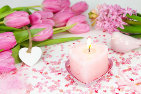 Table Decoration for Valentines Day  Stock Photo