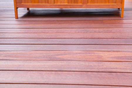 oiled: Wooden bench on oiled bangkirai Terrace
