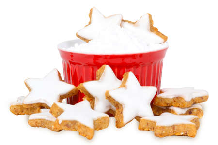 Cinnamon stars and powdered sugar, isolated