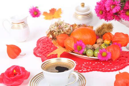 autumn motif: Invitation for coffee