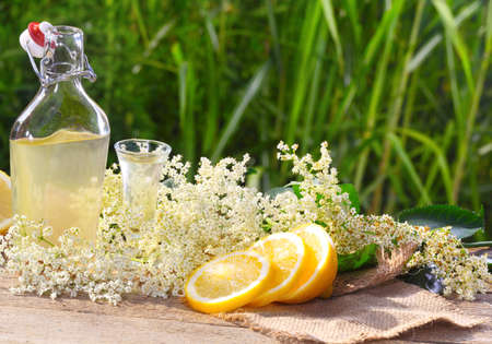Elderflower liqueur and lemon