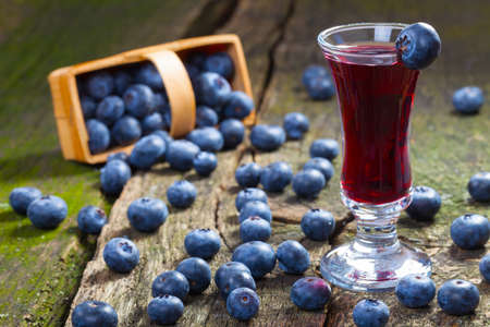 Blueberry liqueur and blueberries