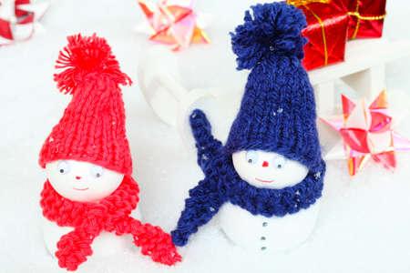 tinkered: Mu�ecos de nieve, trineos, regalos Foto de archivo