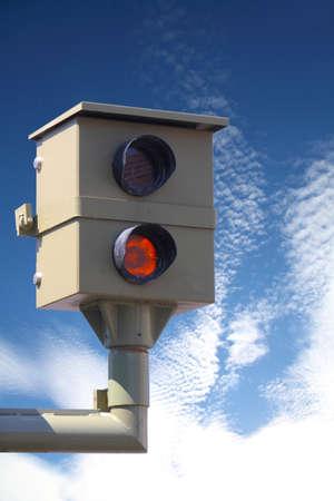 speeder: Radar control, flash, speed camera, speed cameras Stock Photo