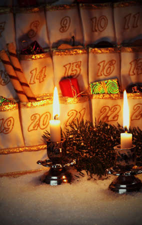 Filled Advent Calendar by candlelight  photo