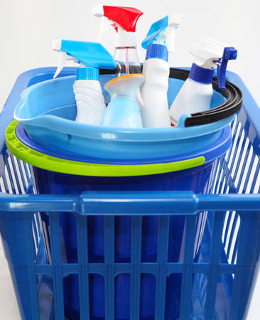 Laundry basket with a detergent  photo