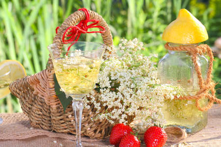 Elderflower champagne and strawberries  photo
