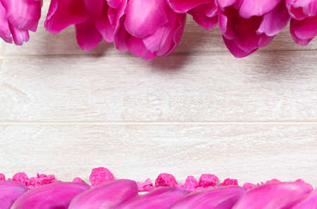 post cards: Greeting card with flower petals and decorative stones Stock Photo