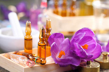 Homeopathy, crocus and ampoules