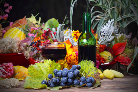 Red wine in the autumn evening  photo