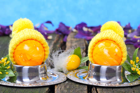 Easter egg with hat, funny easter decoration photo