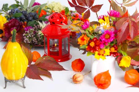 autumn motif: Pumpkin and autumn fruits as table decoration