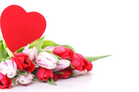 Tulips and red heart, isolated on white photo