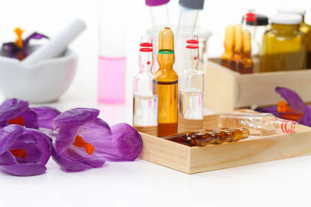 Laboratory bench with crocus flowers  photo