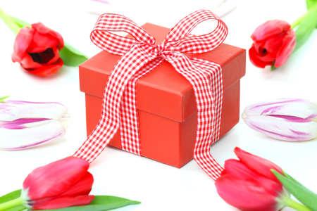 Gift box and tulips photo