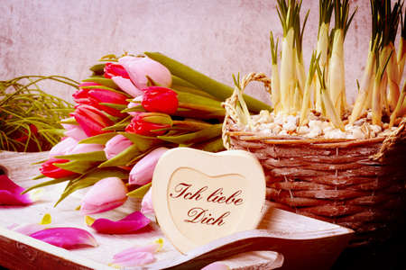 Bouquet of tulips and heart I love you photo