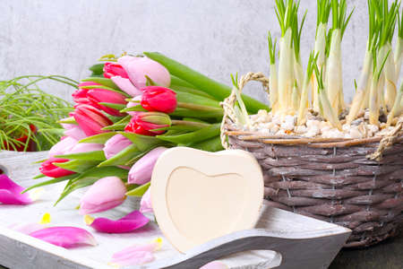 Tulips and heart for inscription photo