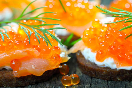 Appetizer with salmon and caviar  photo