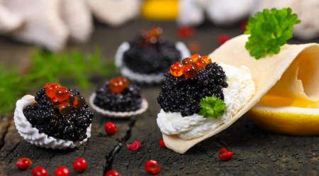 sturgeon: Caviar, served in shells