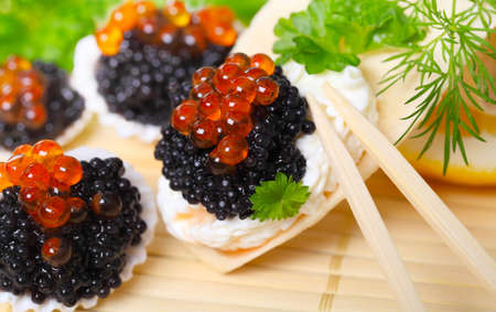 Caviar, served in shells