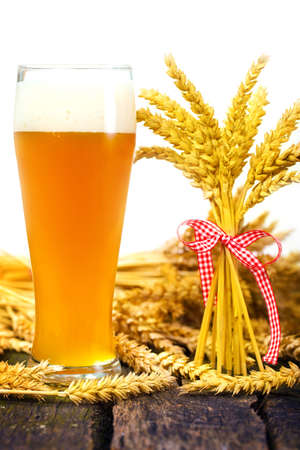 Wheat beer and wheat ears  photo
