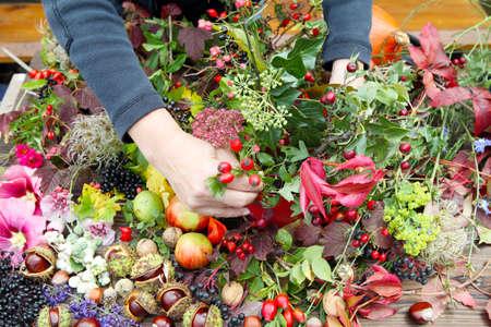 Floristry in autumn Imagens