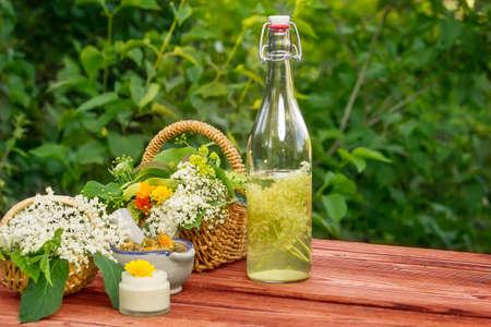 hugo: Elderflower juice, medicinal herbs