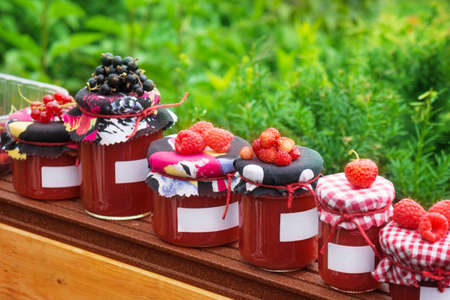 Jam jars with label  photo