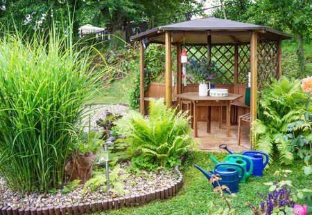 Garden pavilion by the pond photo