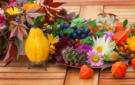 autumn motif: Autumnal table decoration on the terrace