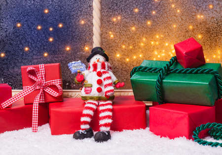 windowpanes: Christmas gifts at the window