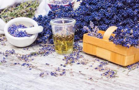 medicinal plant: Medicinal plant lavender, lavender oil Stock Photo