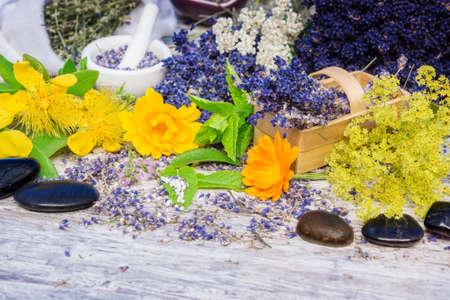 Medicinal herbs, globules, Bach flower remedies, healing stones photo