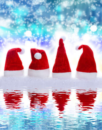 mirror image: Christmas Hats, mirror image, background, blue