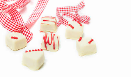 pralines: White pralines, gift Stock Photo